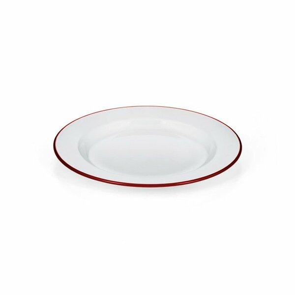Emaille Teller flach weiß rot 24cm
