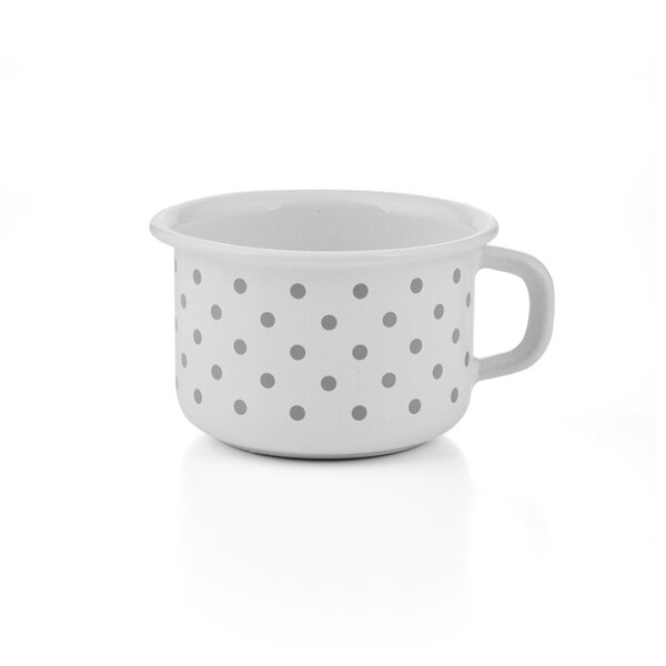 Riess emaille kaffeeschale Pünktchen Grau