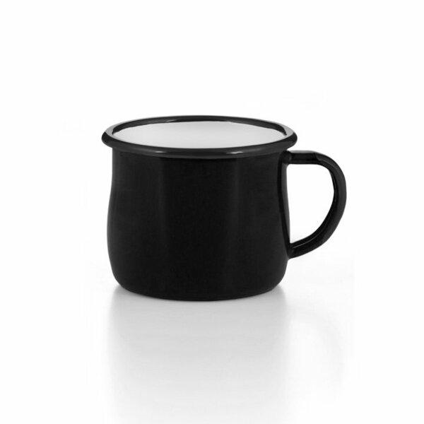 Emaille Tasse Becher schwarz bauchig gebaucht