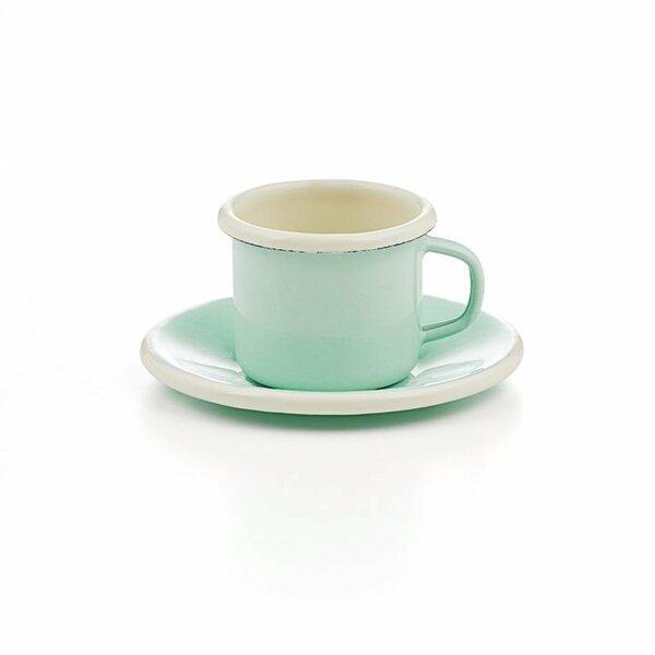Emaille Espressotasse mit Unterteller mintgrün