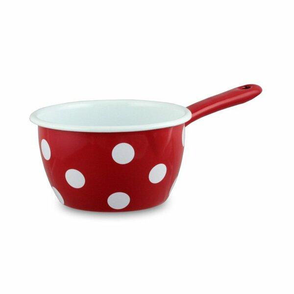 Emaille Stieltopf Stielkasserolle rot mit weißen Tupfen Punkten