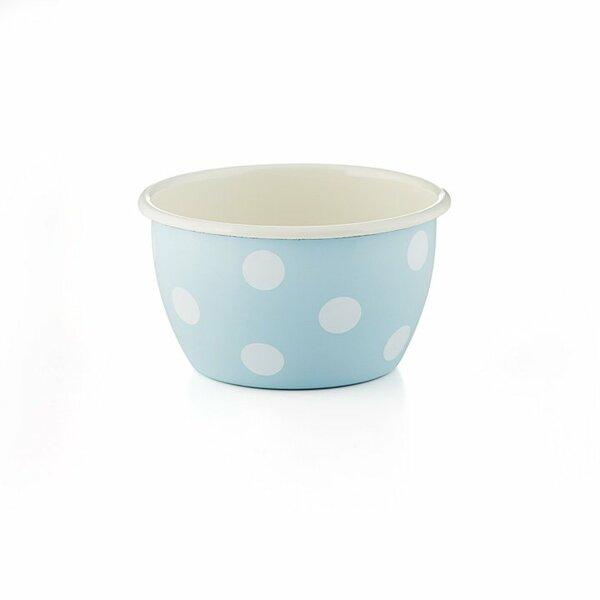 Emaille Schüssel hoch Schale hellblau weiße Tupfen Punkte