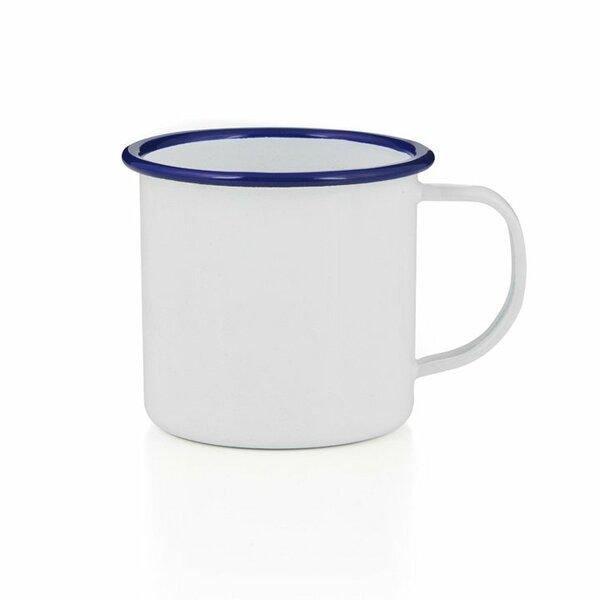 Emaille Tasse Bescher 500ml weiß blau