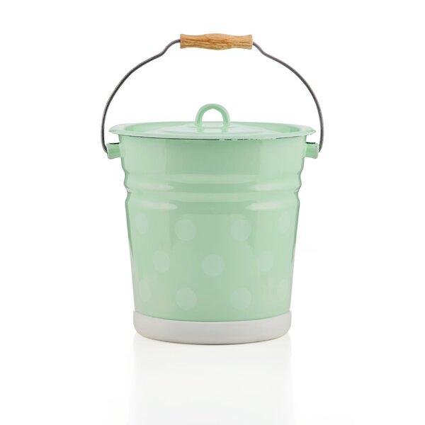 Emaille Eimer 12 Liter mit Deckel mintgrün mit Punkten
