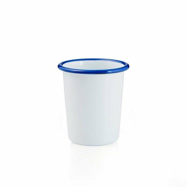 Emaille Becher weiß mit blauem Rand