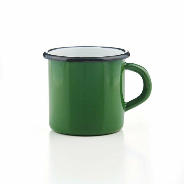 Emaille Tasse grün mit schwarzem Rand Becher