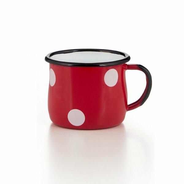 Emaille Tasse Becher rot mit weißen Tupfen Punkten