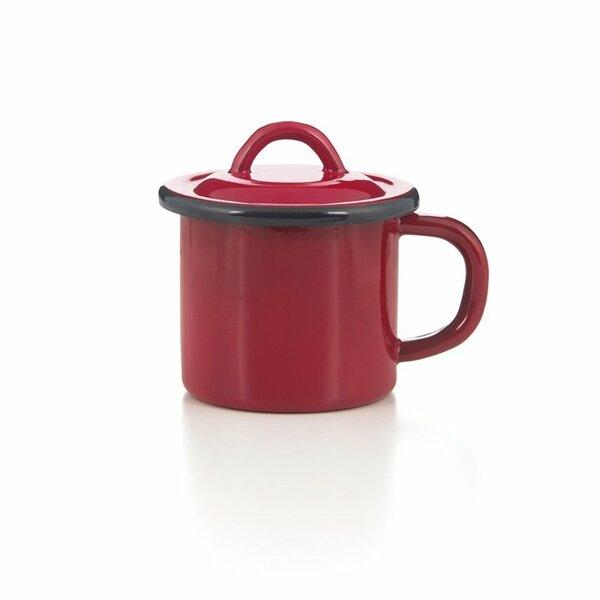 Emaille Tasse mit Deckel rot
