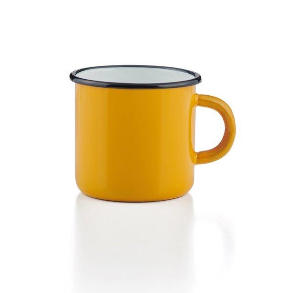 Emaille Tasse Becher gelb gebaucht Emaiilebecher