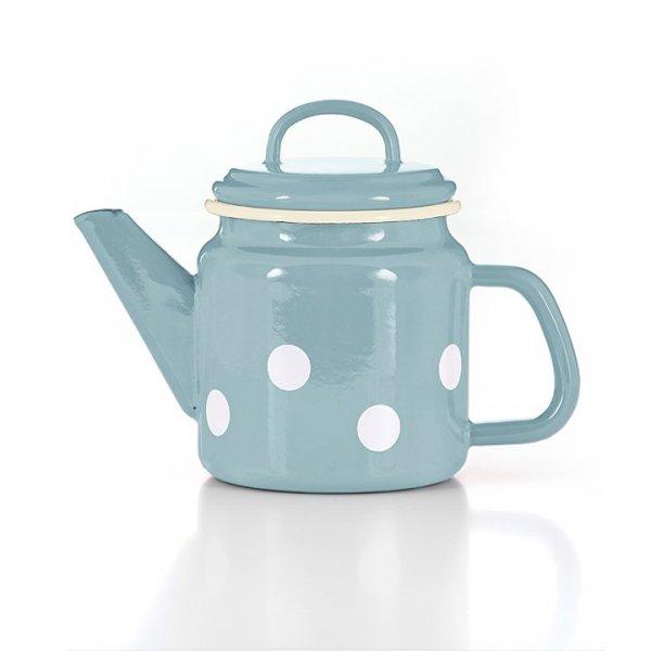 Emaille Teekanne hellblau mit weißen Punkten Tupfen