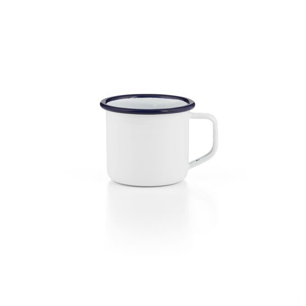 Emaille Espressotasse weiß dunkelblau