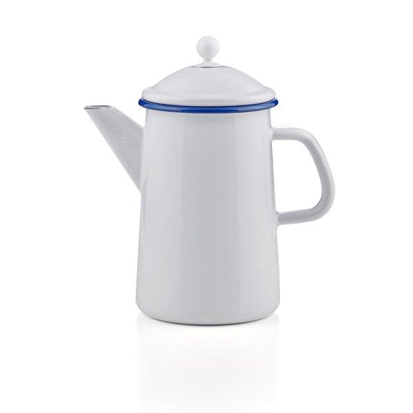 Emaille Kaffeekanne mit Knauf weiß mit blauem Rand