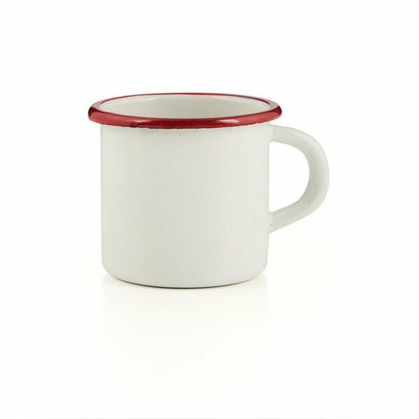 Emaille Tasse Bordeaux creme  Becher