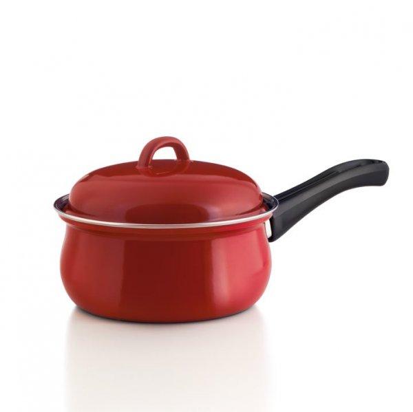 Stielkasserolle mit Deckel rot 1 Liter
