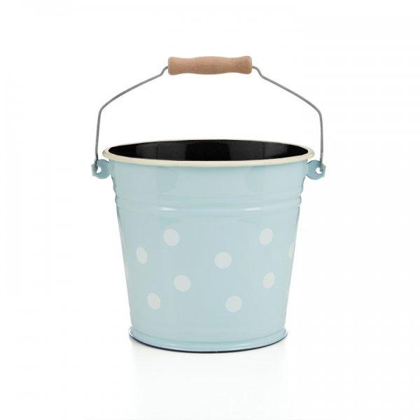 Emaille Eimer 6 Liter hellblau mit weißen Punkten