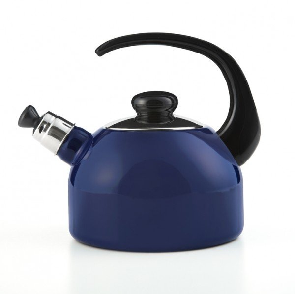 Flötenkessel blau 2 Liter, schwarzer Griff