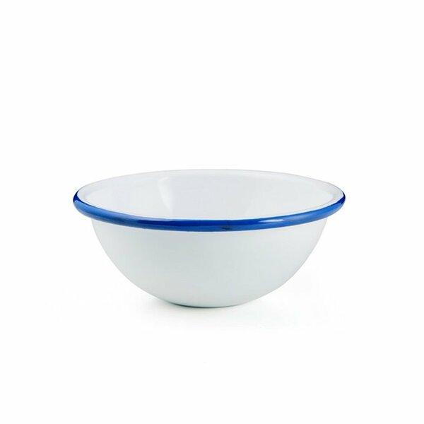Emaille Schale Schüssel 17cm weiß mit blauem Rand