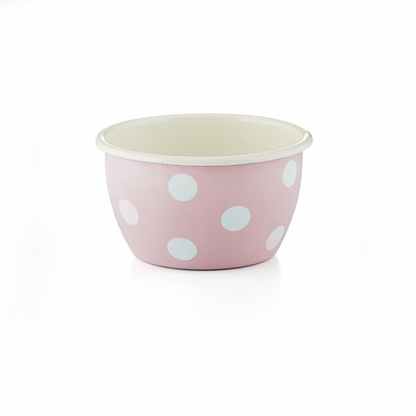 Emaille Schüssel hoch Schale rosa weiße Tupfen Punkte