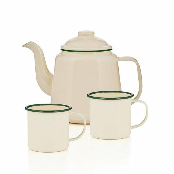 Emaille Teekanne Set creme grün