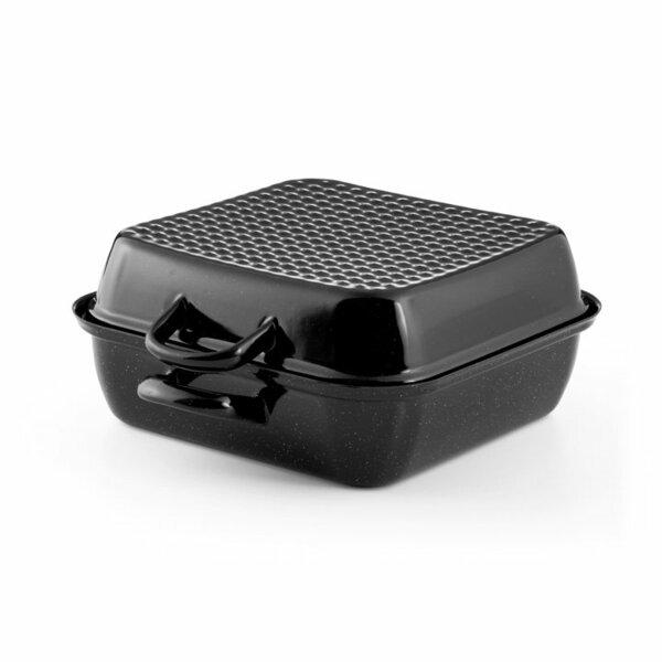 Emaille Riess Bräter schwarzBratpfanne mit deckel 26x26cm