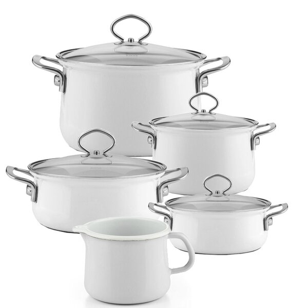 Riess Emaille Familienset Arcticweiss 5 teilig Schnabeltopf