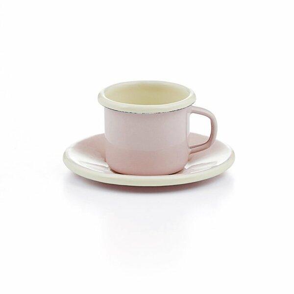 Emaille Espressotasse mit Unterteller rosa