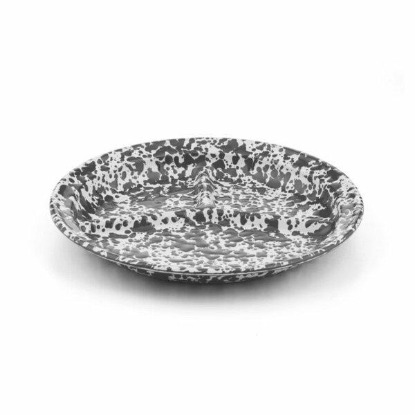 Crow Canyon Emaille Teller 3-geteilt 27cm Marmor grau-weiß