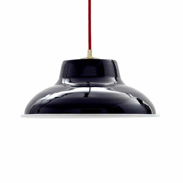 Emaille Lampe Emailleleuchte 32cm rotes Textilkabel