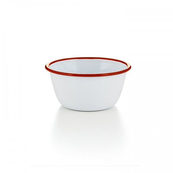 Emaille Schüssel hoch Puddingform weiß rot