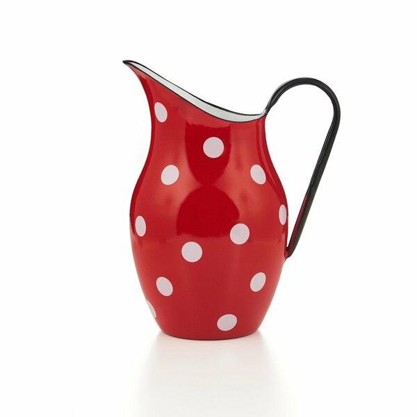 Emaille Wasserkanne Krug Wasserkrug rot weiße punkte