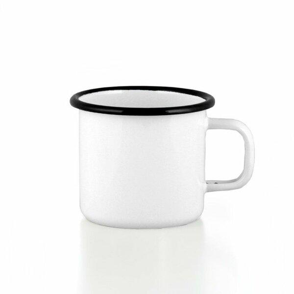 Emaille Tasse Becher weiss mit schwarzem Rand Becher