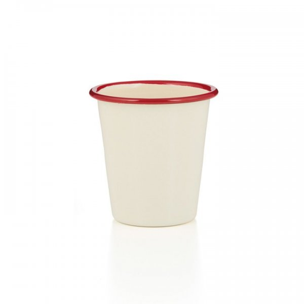 Falcon Emaille Tumbler Becher creme rot