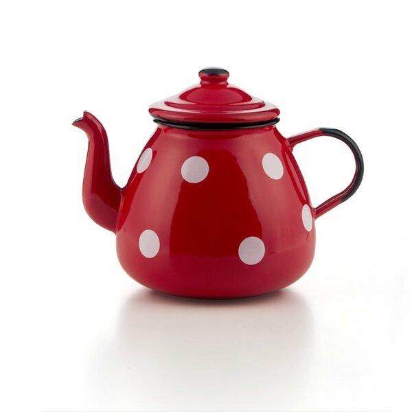 Emaille Teekanne rot mit weißen Punkten Tupfen