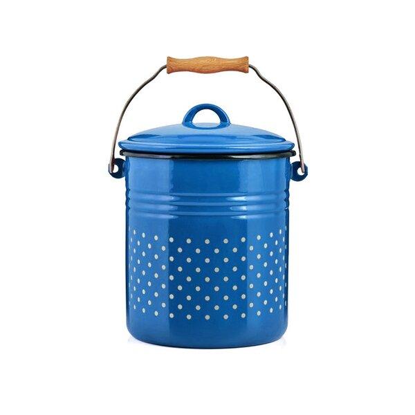 Emaille Eimer Bioeimer Komposteimer blau mit weißen Punkten 5 Liter Bio-Mülleimer