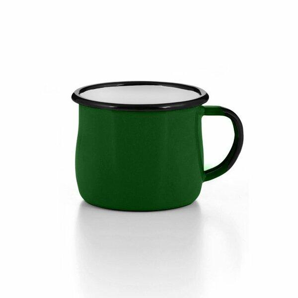 Emaille Tasse Becher dunkelgrün bauchig gebaucht