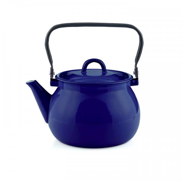 Emaille Wasserkessel dunkelblau Teekessel