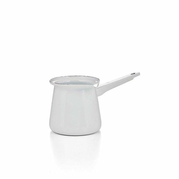 Emaille Kännchen mit Stiel weiß Türkische Kaffeekanne