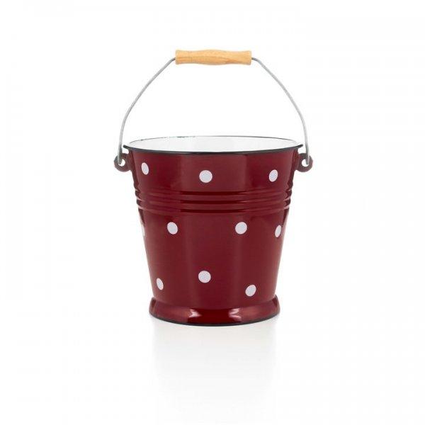 Emaille Eimer 5 Liter rot mit weißen Punkten