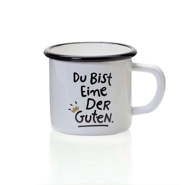 """Emaille Tasse Becher weiss mit schwarzem Rand """"Du bist eine der Guten"""""""