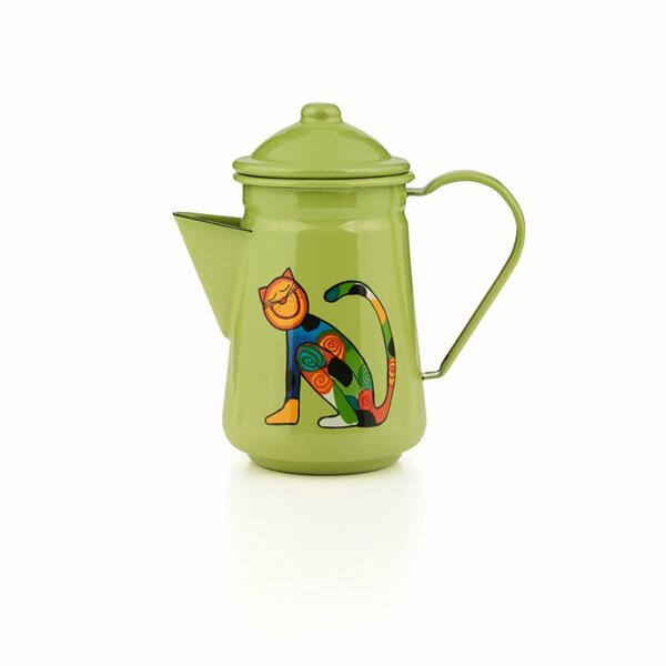Emaille Kinder Kaffeekanne Zoo hellgrün