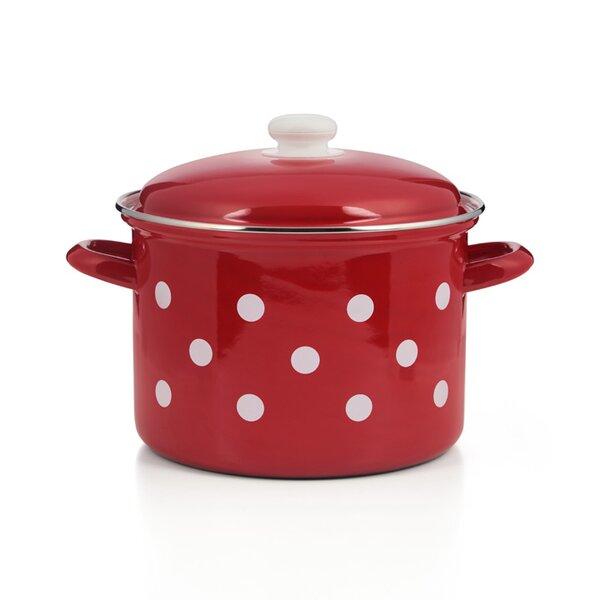 Emaille Topf, Suppentopf  rot mit weißen Punkten