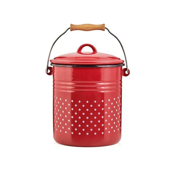 Emaille Eimer Bioeimer Komposteimer rot mit weißen Punkten 5 Liter Bio-Mülleimer