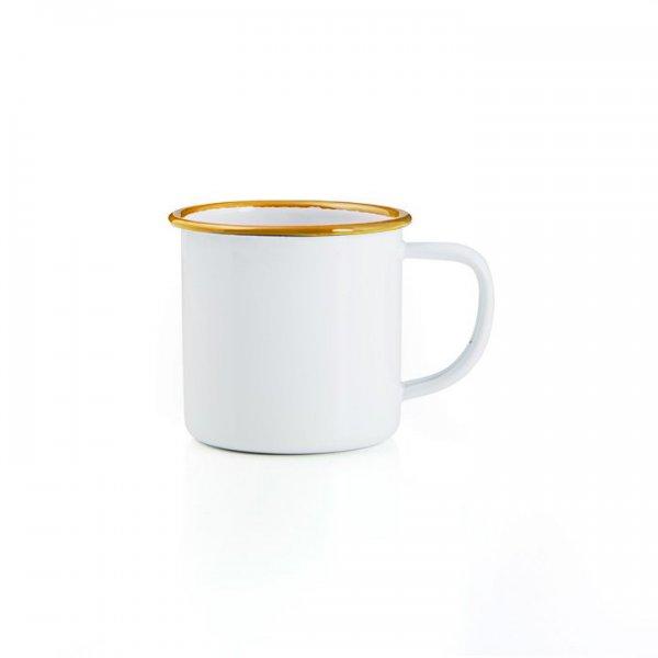 Emaille Tasse Becher weiß senfgelb