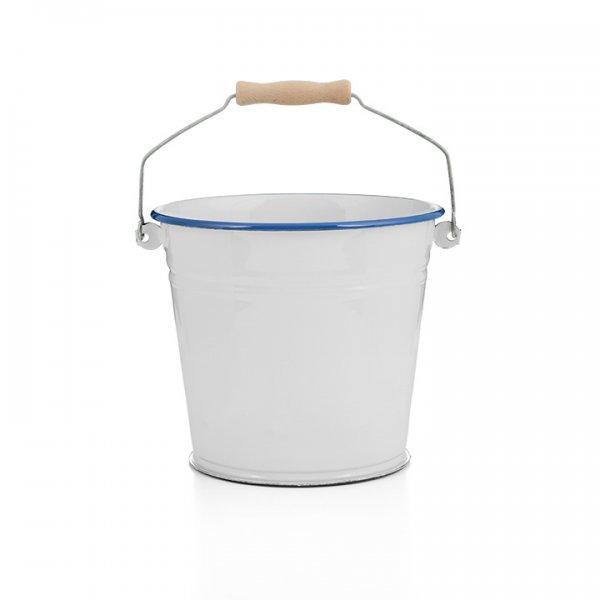 Emaille Eimer 6 Liter weiß blau