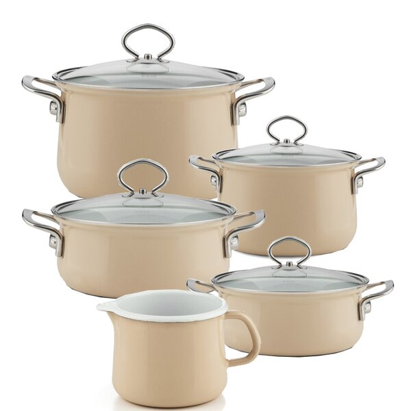 Riess Emaille Familienset Cappuccino 5 teilig Schnabeltopf