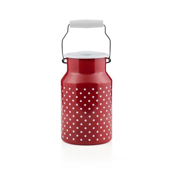 Emaille riess Milchkanne  Pünktchen Rot 2 Liter