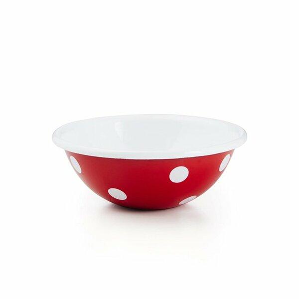 Emaille Schale Schüssel 17cm rot mit weißen punkten tupfen