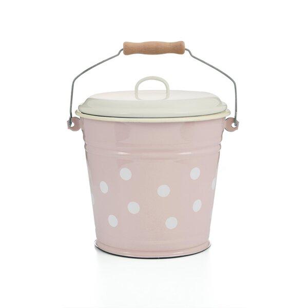 Eimer mit Deckel, 6 Liter rosa mit Tupfen