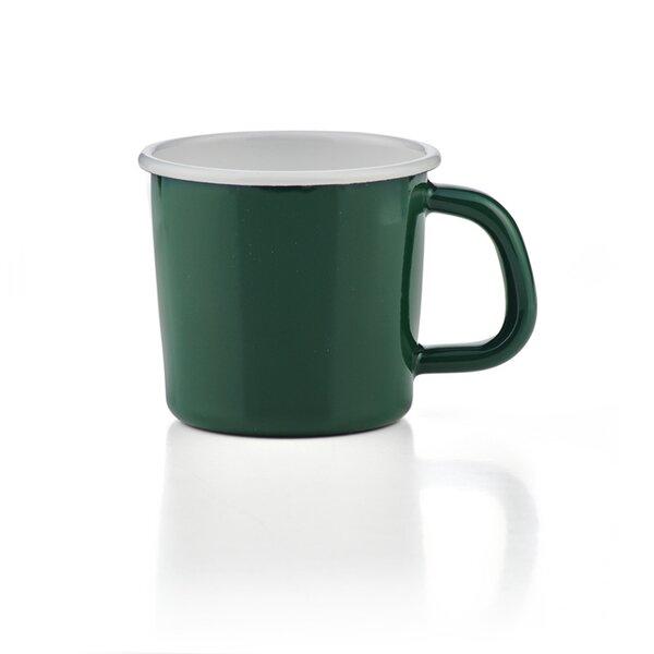Emaille Tasse Becher Kaffeetasse campingtasse solid line grün