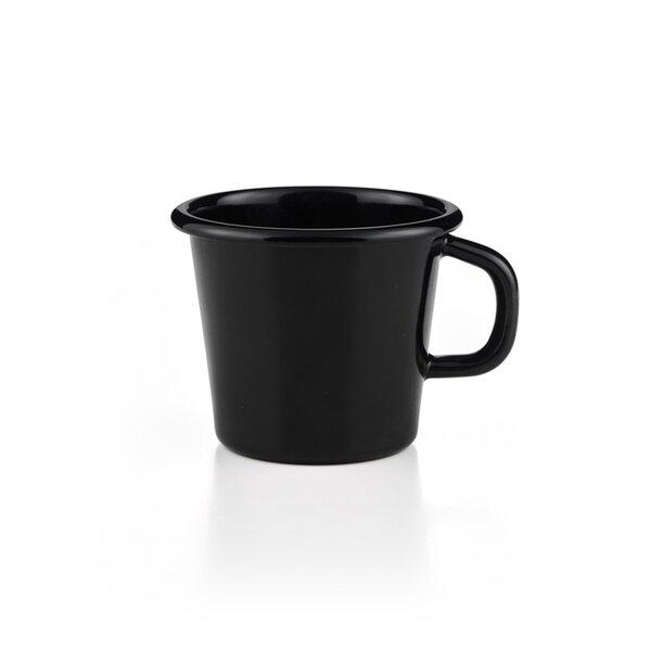 Riess Tasse Emaille Topf mit Bördel Kaffeebecher schwarz